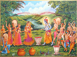 Holi played in Braj and brasana are a remembrance of Radha & Krishna playing Holi.